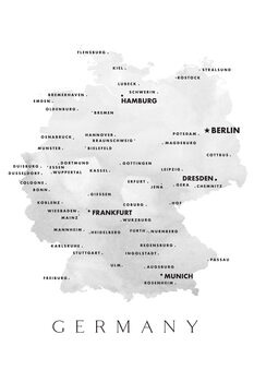 Kartta Map of Germany with cities in grayscale watercolor