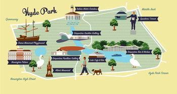 Fine Art Print Map of Hyde Park