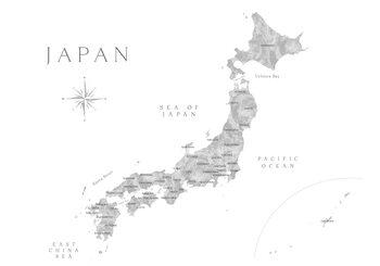 Map Map of Japan in gray watercolor