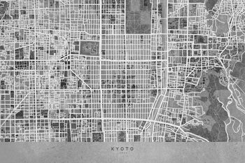 Map Map of Kyoto, Japan, in gray vintage style
