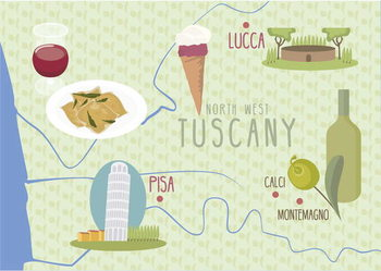 Fine Art Print Map of Lucca and Pisa, Tuscany, Italy