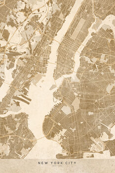 Map Map of New York City in sepia vintage style
