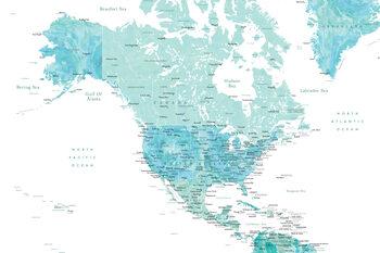 Kartta Map of North America in aquamarine watercolor