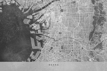 Map Map of Osaka, Japan, in gray vintage style