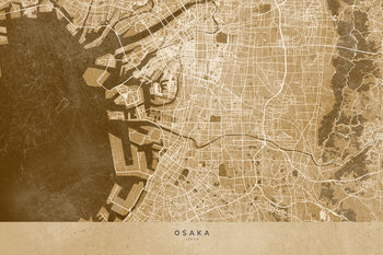 Map Map of Osaka, Japan, in sepia vintage style
