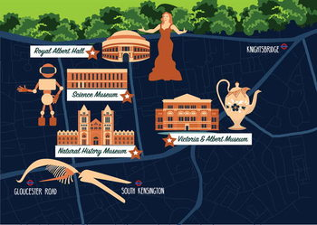 Fine Art Print Map of South Kensington