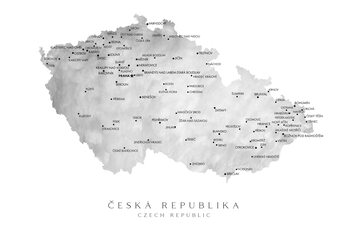 Map Map of the Czech Republic in gray watercolor