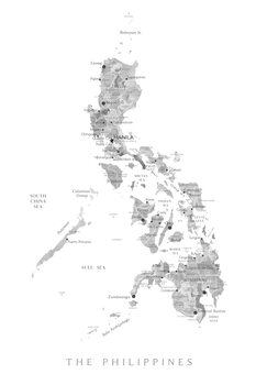 Map Map of the Philippines in gray watercolor