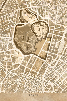 Map Map of Tokyo, Japan, in sepia vintage style