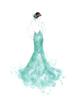 Illustration Mint mermaid dress fashion illustration