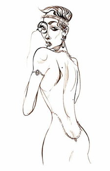 Taidejuliste Model wearing a backless dress and a monocle