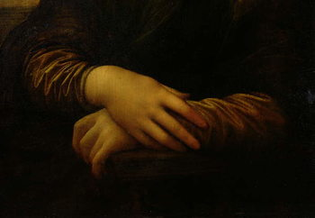 Taidejuliste Mona Lisa, detail of her hands, c.1503-06