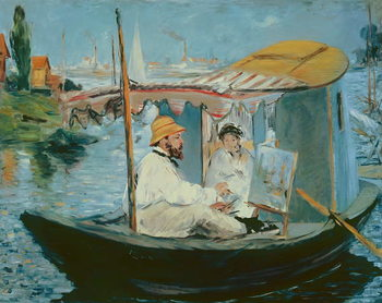 Taidejuliste Monet in his Floating Studio, 1874
