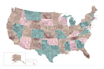 Kartta Muted watercolor map of the US with state capitals