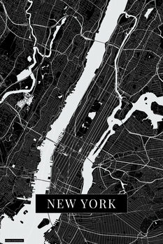 Map New York black