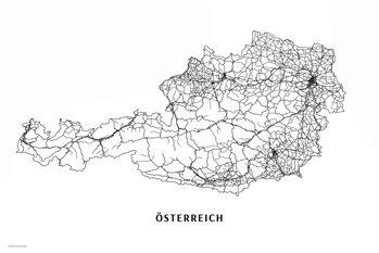 Kartta Österreich black & white