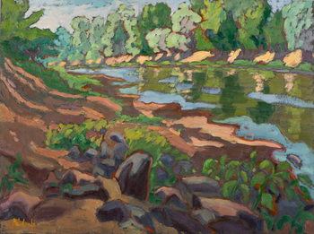 Fine Art Print On the Shady Side of River Koros  oil on board