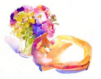 Fine Art Print Orange cat with Flowers, 2014,