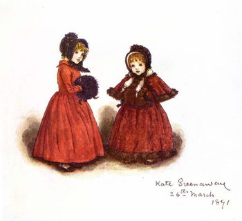 Taidejuliste 'Out for a walk'  by Kate Greenaway.