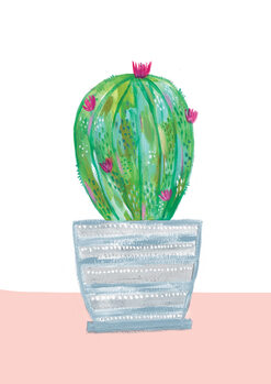 Illustration Painted cactus in blue stripe plant pot