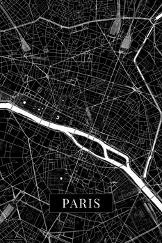 Mapa Paris black