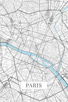 Map Paris white