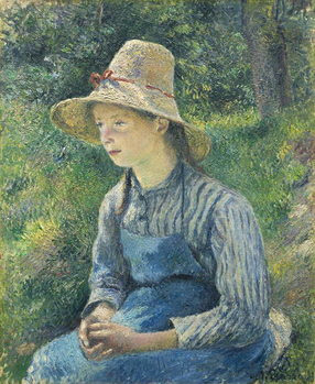 Fine Art Print Peasant Girl with a Straw Hat, 1881