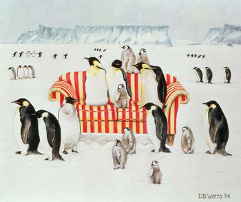 Taidejuliste Penguins on a red and white sofa, 1994