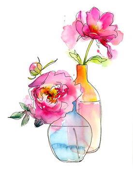 Fine Art Print Peony in vases, 2016,