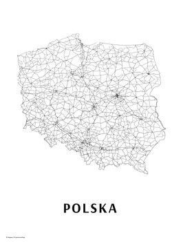 Map Poland black & white