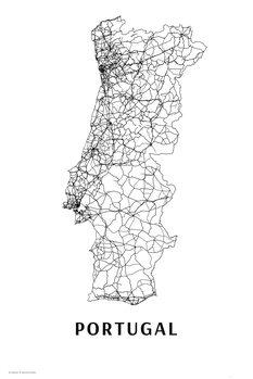 Map Portugal black & white