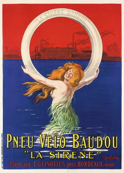 Fine Art Print Poster advertising 'La Sirene' bicycle tires manufactured by Pneu Velo Baudou