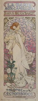 """Fine Art Print Poster for """"La dame au camélias"""""""" at the Renaissance Theatre with Henriette Rosine Bernard dit Sarah Bernhardt  - by Mucha, 1896."""