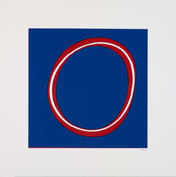 Fine Art Print Red Circle on Blue