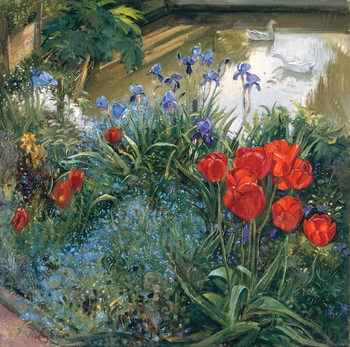 Taidejuliste Red Tulips and Geese