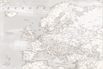 Map Rustic detailed map of Europe