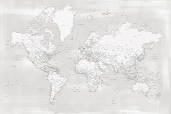 Map Rustic distressed detailed world map in neutrals
