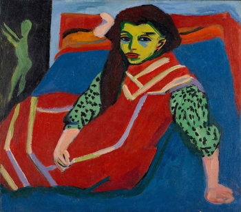 Taidejuliste Seated Girl (Fränzi Fehrmann), 1910