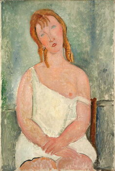Fine Art Print Seated Young Girl in a Shirt; Jeune fille assise en chemise