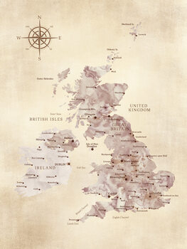 Map Sepia distressed map of the British Islands