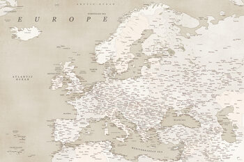 Map Sepia vintage detailed map of Europe