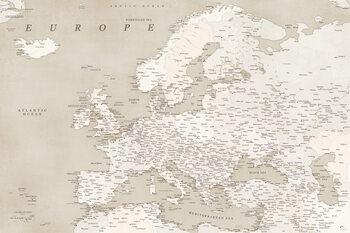Mapa Sepia vintage detailed map of Europe
