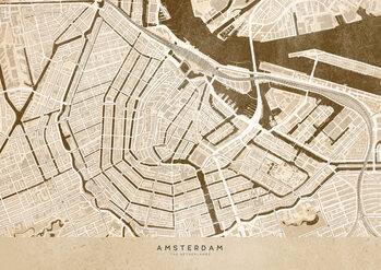 Map Sepia vintage map of Amsterdam