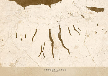 Map Sepia vintage map of Finger Lakes