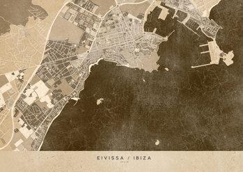 Map Sepia vintage map of Ibiza