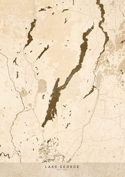 Map Sepia vintage map of Lake George