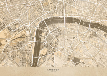 Map Sepia vintage map of London downtown
