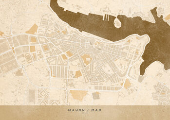 Map Sepia vintage map of Mahon