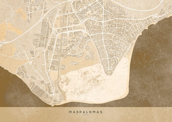 Map Sepia vintage map of Maspalomas