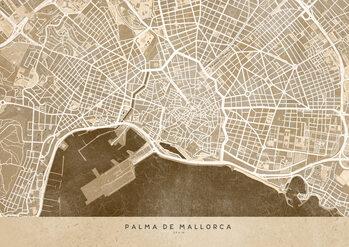 Map Sepia vintage map of Palma de Mallorca